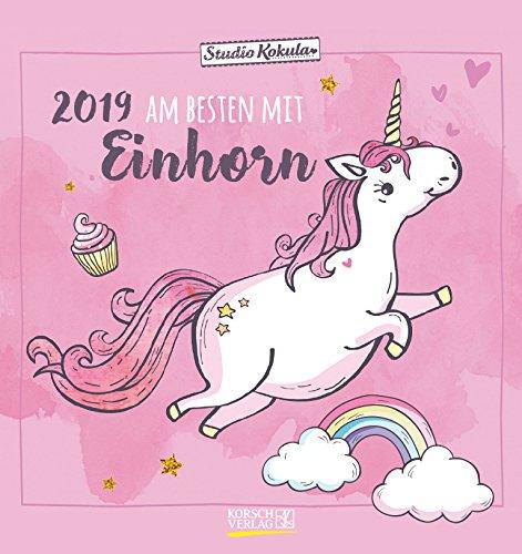 Einhorn 2019: Aufstellbarer Postkartenkalender. Tisch- und Wandkalender mit 12 Postkarten. 16 x 17...