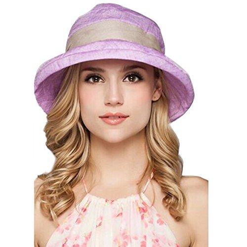 Butterme Femmes élégant Coton pur Pliable chapeau à large bord chapeau de soleil UPF 50+ été plage seau chapeau crème solaire Violet