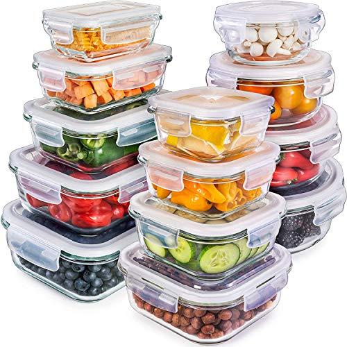 Prep Naturals Vorratsdosen-Set aus Glas 13 x Glasbehälter mit auslaufsicheren Deckeln | Kühlschrank-, Gefrierschrank-, Mikrowelle- u. Spülmaschinengeeignet | Aufbewahrungsdosen, Frischhaltedosen