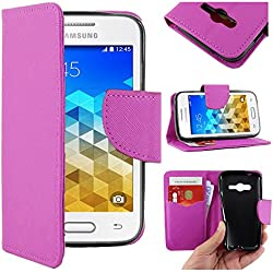 ebestStar - Compatible Coque Samsung Galaxy Trend 2 Lite SM-G318H, Galaxy V Plus Etui PU Cuir Housse Portefeuille Porte-Cartes Support Stand, Violet [Appareil: 121.4 x 62.9 x 10.7mm, 4.0'']