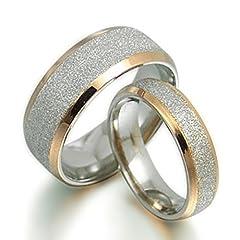 Idea Regalo - Gemelli sposo e sposa in oro 18K gli anelli in titanio anniversario di matrimonio,, UK SZ g a Z7