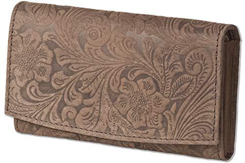 Woodland® Große Ledergeldbörse für Damen mit RFID/NFC Ausleseschutz aus Büffelleder in Dunkelbraun mit Orchideen-Prägung - Prägung Leder Geldbörse