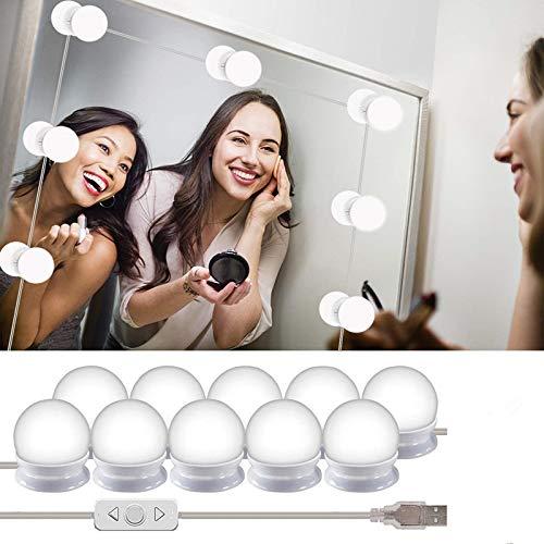Smart Art LED Kosmetikspiegelleuchten mit 10 dimmbaren Glühbirnen für Make-up-Frisierkommode und Netzteil (Einfach Bunny Make-up)