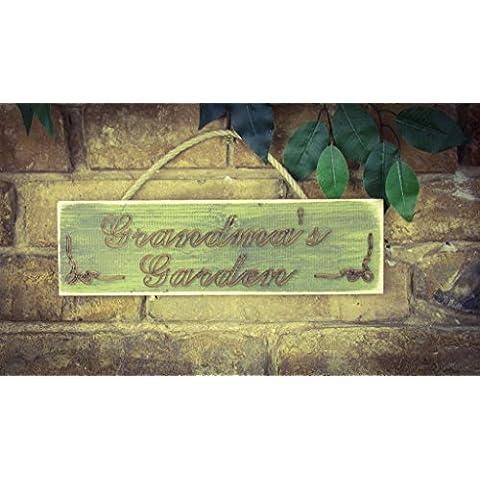 Jardín de la abuela, madera maciza grabado Sign