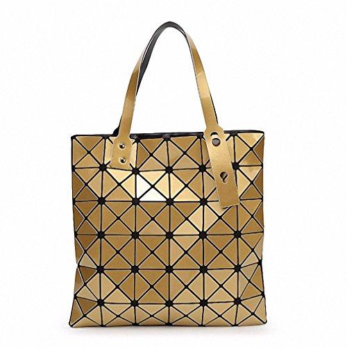 Borsa Borsetta donna geometrica ripiegata Plaid moda Borsa Tote casual donna Borsetta tracolla blu cielo piccola Gold