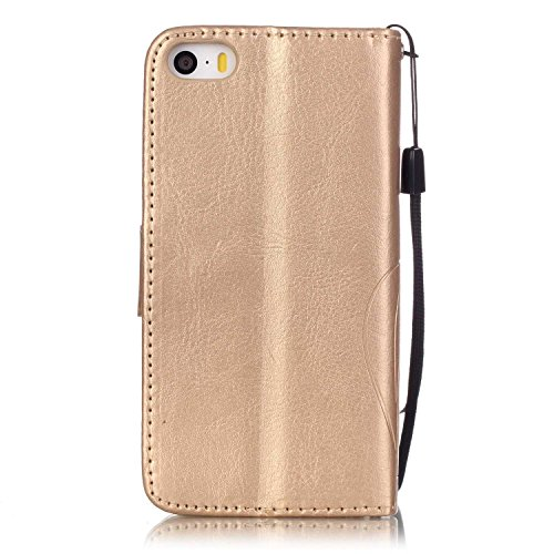 iPhone 6S Custodia Portafoglio con Strass, Tebeyy sottile Premium [Portafoglio in pelle Flip Book], Cover con Supporto, [chiusura magnetica] [Card Slot], per Apple Iphone 6/6S 4.7, lusso strass elegan Flower,Gold