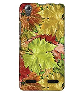 PrintHaat Designer Back Case Cover for Lenovo A6000 :: Lenovo A6000 Plus :: Lenovo A6000+ (bunch of maple leaf :: floral design :: leaf texture :: in green, yellow and brown)