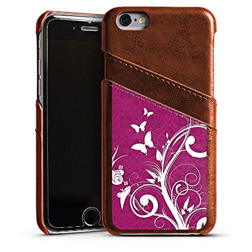 Apple iPhone 4 Housse Étui Silicone Coque Protection Rose vif Papillons Fleurs Étui en cuir marron