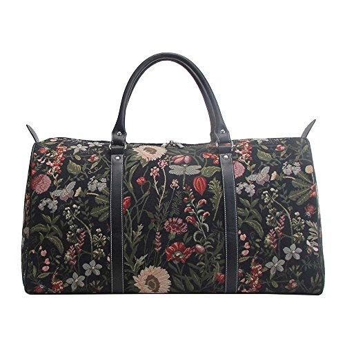 Signare grand fourre-tout bagage weekender en toile tapisserie mode femme Matin Jardin Noir