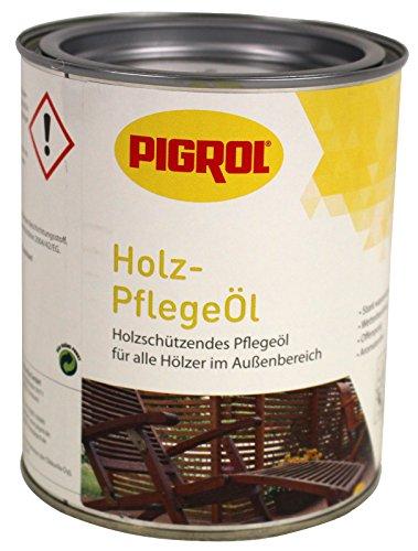 Pigrol Holzpflegeöl 0,75L Speziell für Lärche Douglasie Hartöl Gartenmöbelöl Terrassenöl Holzöl - Tisch Mahagoni-holz Gartenmöbel