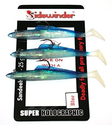 """Sidewinder Sandeels Blue 6"""""""" Sea Fishing Lures by Kiddy"""