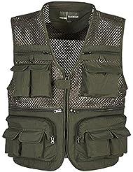 Multi-poches Gilet de Pêche en Maille Camouflage Photographie Séchage Rapide-5 Taille à Choix