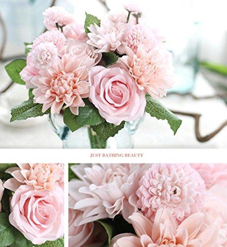 Longra Wohnaccessoires & Deko Kunstblumen Künstliche Seide Kunstblumen Blatt Rose Blumen Hochzeit Bouquet Party Home Decor Blumen (C)