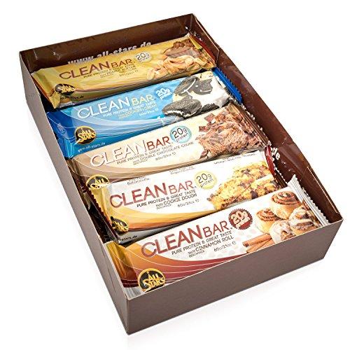 ALL STARS Clean Bar Mix Box, 10 x 60g LOW CARB Eiweißriegel, High Quality Whey & Milk-Protein, zuckerarm, ballaststoffreich - High Protein Bar Chocolate Peanut Butter