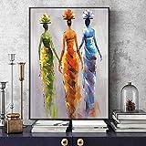 RTCKF Leinwand Afrikanische Abstrakte Weibliche Wandkunst Leinwand Malerei Bunte Kunst Leinwand Auf Wohnzimmer Wandbild Poster A2 40x50 cm