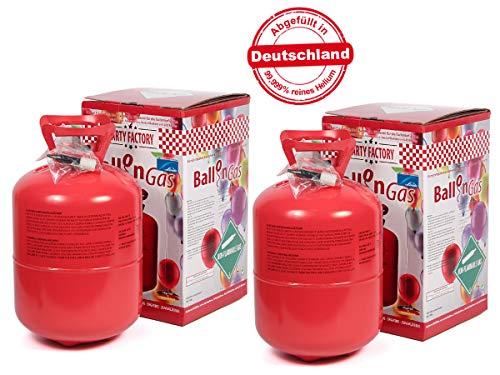 2 Stk. Heliumgasflasche Ballongas Helium Balloon Gas Flasche Heliumgas Einweg für ca. 100 Ballons von Alsino