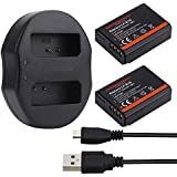 Expresstech @ 2x Reemplazo batería LP-E10 LPE10 1050mah 7,4V + USB cargador para Canon EOS 1100D 1200D 1300D EOS Rebel T3 T5 T6 Kiss X50