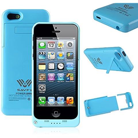 Funda Batería iphone 5 / 5s , SAVFY® Case carcasa Con Batería Cargador-batería Externa Recargable 2200mAh Para iPhone 5 / 5s (Azul)