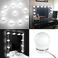YY-LC LC178 Kit bombillas de luz LED de estilo maquillaje de Hollywood con Interruptor de contacto,Puede ocultar y cables reemplazables,para el baño/Guardarropa/Mesa/Espejo de pared de maquillaje Espejo , 10 luces / 13.5FT de total, no incluido el espejo.
