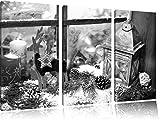 weihnachtlich dekoriertes Fensterbrett Kunst B&W 3-Teiler Leinwandbild 120x80 Bild auf Leinwand, XXL riesige Bilder fertig gerahmt mit Keilrahmen, Kunstdruck auf Wandbild mit Rahmen, gänstiger als Gemälde oder Ölbild, kein Poster oder Plakat