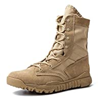 IODSON 7inch Tactical Combat Boots, Lightweight Military Boots, Army Ankle Shoes (7.5D(M) US, Tan)