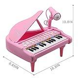 Amy and Benton Jouet Piano Clavier 24 Touches Instrument de Musique Électronique Éducationnel Microphone de Cadeau d?Anniversaire Bébé,Rose