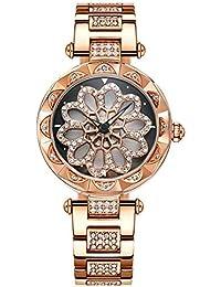 KuanDar watch Giradiscos Reloj de Pulsera Diamante Moda Cuarzo Cerámica Pulsera  Relojes Reloj analógico Impermeable ef74a0cefc0a