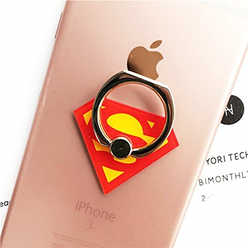 F-EYE Avengers Marvel Ring Universal 360° Rotating Phone Buckle Tablet Finger Grip Ring Stand Holder Kickstand Tablets iPhone 4 4S 5 5S 6 6S SE 7 Plus Samsung iPad iPod (Superman)