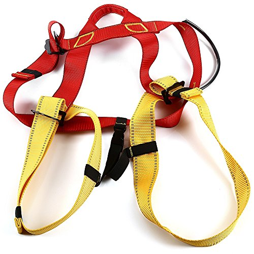 life-plus-harness-bust-seat-belt-outdoor-rock-climbing-rappelling-equipment-yellow-and-red