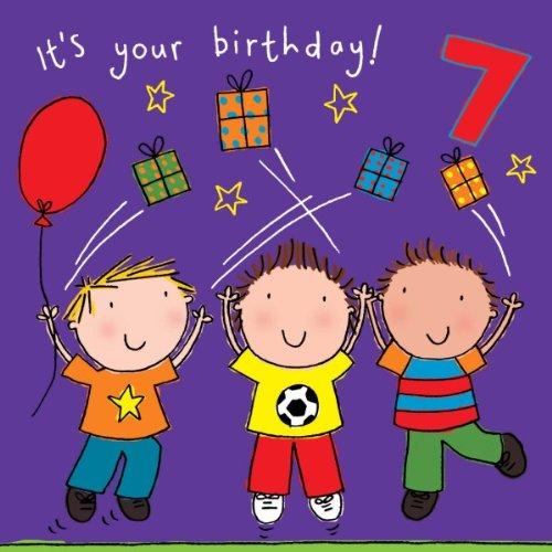 Twizler Geburtstagskarte zum 7. Geburtstag für Jungen mit Freunden, Geschenken und Swarovski Kristall Finish - Sieben Jahre alt - Alter 7 - Kinder Geburtstagskarte - Jungen Geburtstagskarte - Happy Birthday Card