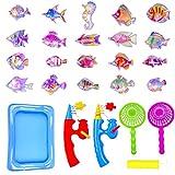 Badespielzeug, 25 Stück Magnetisches Fischen-Spielzeug-wasserdichtes sich hin- und herbewegendes Fischenspiel in der Badewanne Badezimmer-Pool-Bad-Zeit-Lernen Bildung für Jungen-Mädchen-Kleinkind-Kind, Sommer-Wasser-Spielwaren, die Spielzeug für Kinder Partei fischen