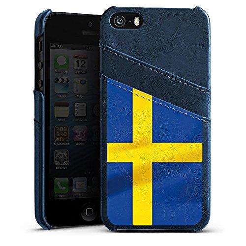 Apple iPhone 5s Housse Étui Protection Coque Suède Suède Drapeau Étui en cuir bleu marine