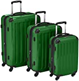 HAUPTSTADTKOFFER – Alex – Set of 3 Hard-side Luggages Glossy Suitcase Hardside Spinner Trolley Expandable (S, M & L) Green