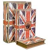 Tresor - Set mit 3 großen geheimen Büchern, Vintage-Dekor für Geld, Schmuck, Aufbewahrungsbox, geeignet als Geschenk Design Union Jack