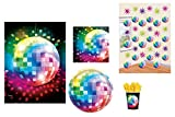 39-teiliges Party-Set Disco Fever 70´s - Teller Becher Servietten, Tischdecke, Swirl Deko mit Discokugel für 8 Personen