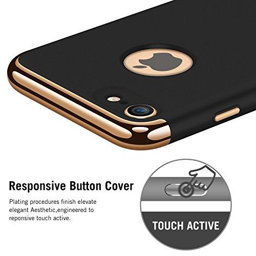 Custodia iPhone 6, 360 Gradi della copertura completa 3 in 1 Hard PC Case Cover Stilosa Protettiva Bumper Antiurto Antigraffio Posteriore Copertura per iPhone 6s Plus Gold + black