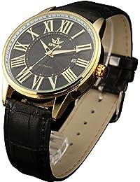 SEWOR reloj para hombre mecánico automático de negocios reloj oro funda de piel con tapa
