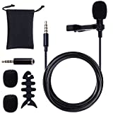 Rovtop 3.5mm Micro Cravate Microphone pc Micro Cravate Stéréo Audio Microphone Jack Micro Cravate Smartphone Tie Clip de Type Omnidirectionnel Applicable à la Téléphone, Android, Iphone, Ipad