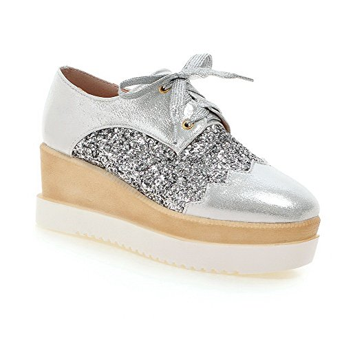AgooLar Damen Weiches Material Quadratisch Zehe Mittler Absatz Schnüren Rein Pumps Schuhe Silber
