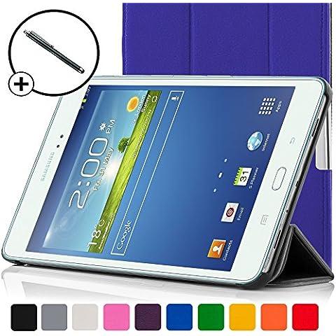 ForeFront Cases®–Case con soporte funda de piel sintética para Samsung Galaxy Tab 38.08GB 3G + WiFi–con Magnético Auto de función de reposo–Incluyen lápiz azul azul Galaxy Tab 3