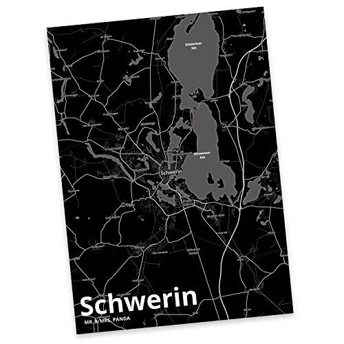 Mr. & Mrs. Panda Postkarte Stadt Schwerin Stadt Black - Stadt Dorf Karte Landkarte Map Stadtplan Postkarte, Postkarten, Einladungskarte, Geschenkkarte, Brief, Spruch des Tages, Kärtchen, Geschenk, Karte, Papier, Einladung, Fan, Fanartikel, Souvenir, Andenken, Fanclub, Stadt, Mitbringsel