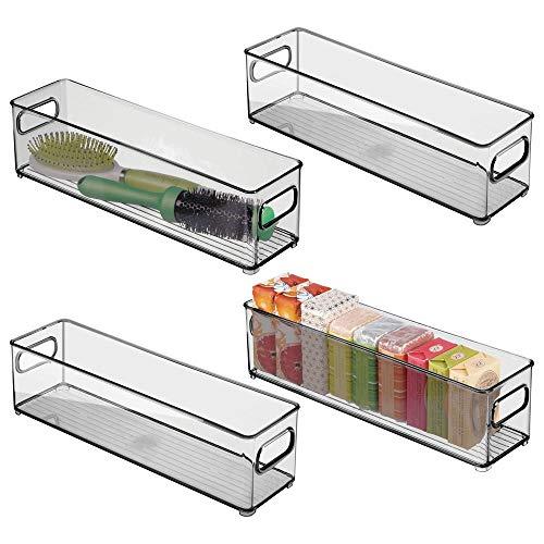 mDesign 4er-Set Ablagebox mit integrierten Griffen - platzsparende Aufbewahrungsbox mit ansprechendem Design - ideal zur Kosmetikaufbewahrung im Bad - rauchgrau -