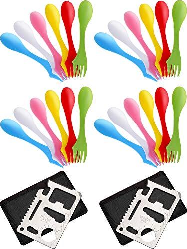 Honoson 24 Stücke Kunststoff Camping Spork Tritan Sporks 3 in 1 Messer Gabel Löffel Set Multifunktion Löffel Set und 2 Stücke Flaschen Öffner mit Tragbaren Taschen für Outdoor Aktivitäten, 6 Farben - Kunststoff-löffel-gabel-messer-set