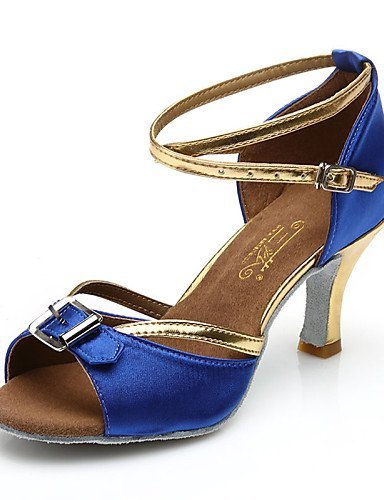 ShangYi Chaussures de danse(Noir / Bleu) -Non Personnalisables-Talon Bas-Satin / Cuir-Ventre / Ballet / Latine / Jazz / Baskets de Danse /