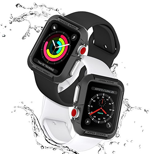 Apple Watch Hülle, Spigen [Rugged Armor] 42mm Silikon Schutzhülle für Apple Watch 1 & Apple Watch 2 [Schwarz] Elastisch Ultimativ Schutz vor Stürzen und Stößen - [Karbon Look] Schutzhülle für Apple Watch 1 (42mm) & Apple Watch 2 (42mm) - Black (SGP11496)