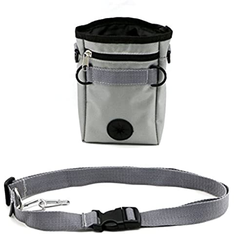 Dog Treat Bag  with Adjustable Waist Belt and 2 Zippered Pockets for Training Toys and Poop Bag Dispenser (Grey)