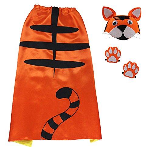 Tiger Kindes Umhang, Pfoten & Hut (Abc Party Kostüme Für Mädchen)