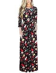 Idea Regalo - Ruiyige Women Halloween Dress Vestiti lunghi a lunga lunghezza 3/4 maniche lunghe a maniche lunghe