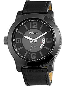 Raptor Analog Herrenuhr, Leder, Ø 50 mm, Schwarz - 297971500038