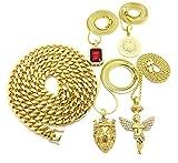 Gold ton Medusa, Engel, King Krone Löwe, rot Edelstein Anhänger, Miami Kubanischen Kette 5Halskette Set